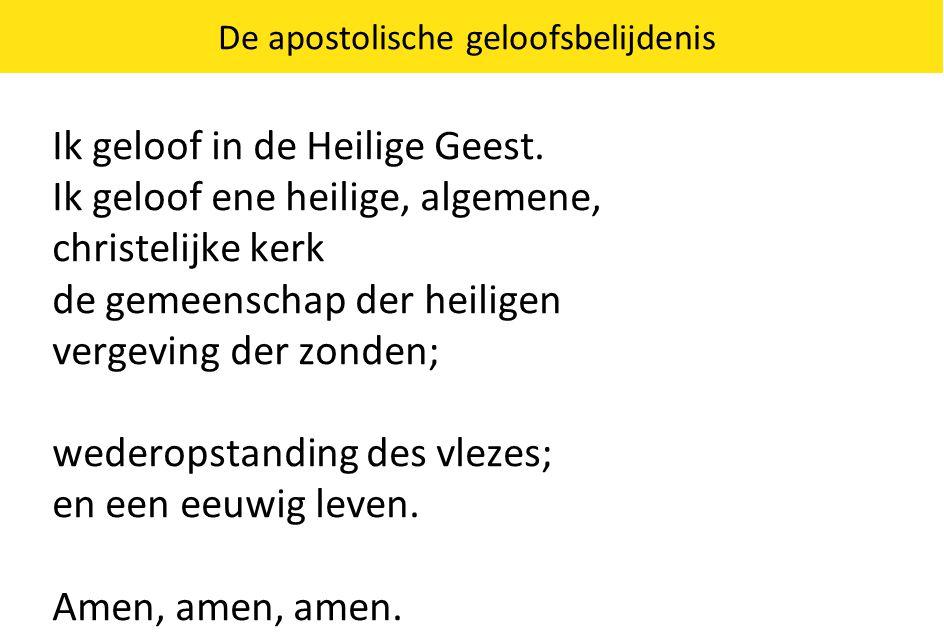 De apostolische geloofsbelijdenis Ik geloof in de Heilige Geest.