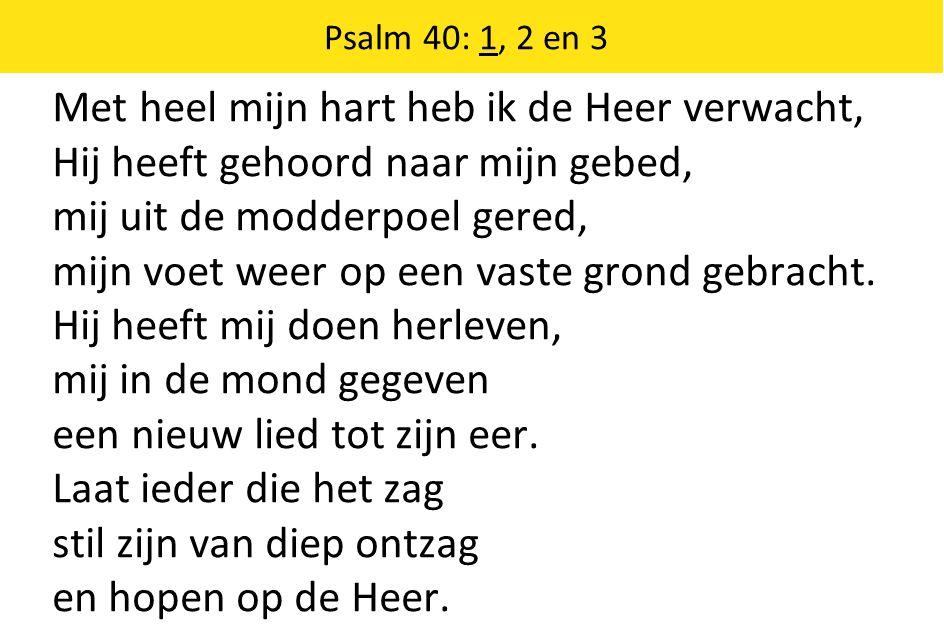 Met heel mijn hart heb ik de Heer verwacht, Hij heeft gehoord naar mijn gebed, mij uit de modderpoel gered, mijn voet weer op een vaste grond gebracht.