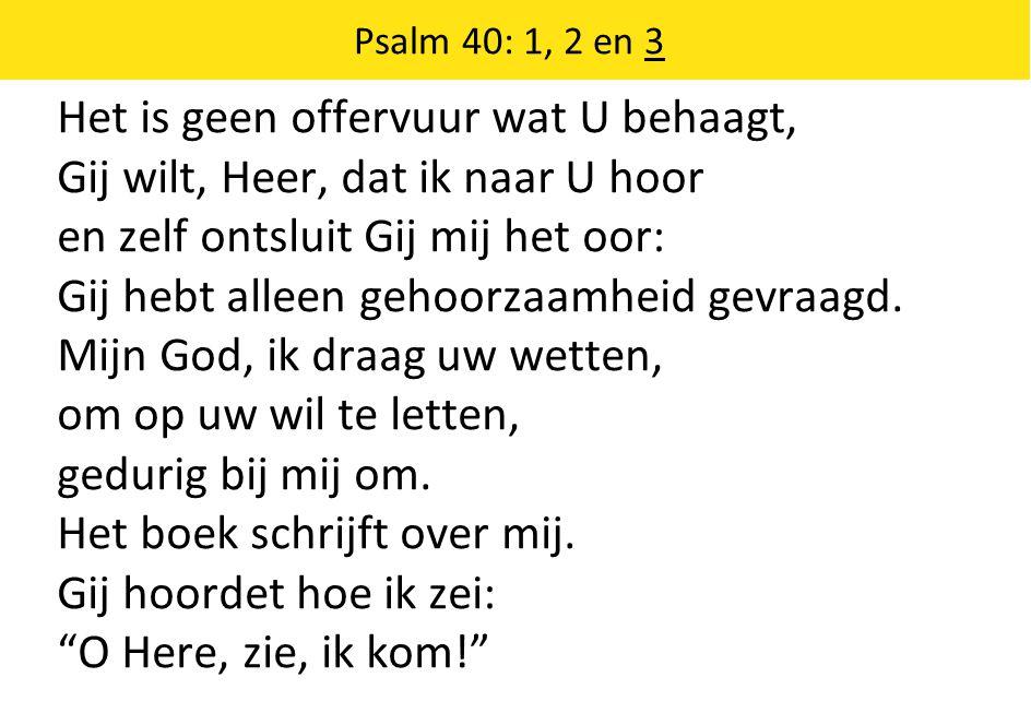 Het is geen offervuur wat U behaagt, Gij wilt, Heer, dat ik naar U hoor en zelf ontsluit Gij mij het oor: Gij hebt alleen gehoorzaamheid gevraagd.