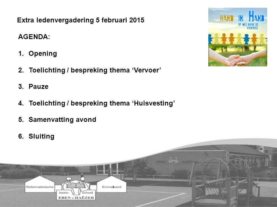 AGENDA: 1.Opening 2.Toelichting / bespreking thema 'Vervoer' 3.Pauze 4.Toelichting / bespreking thema 'Huisvesting' 5.Samenvatting avond 6.Sluiting Extra ledenvergadering 5 februari 2015