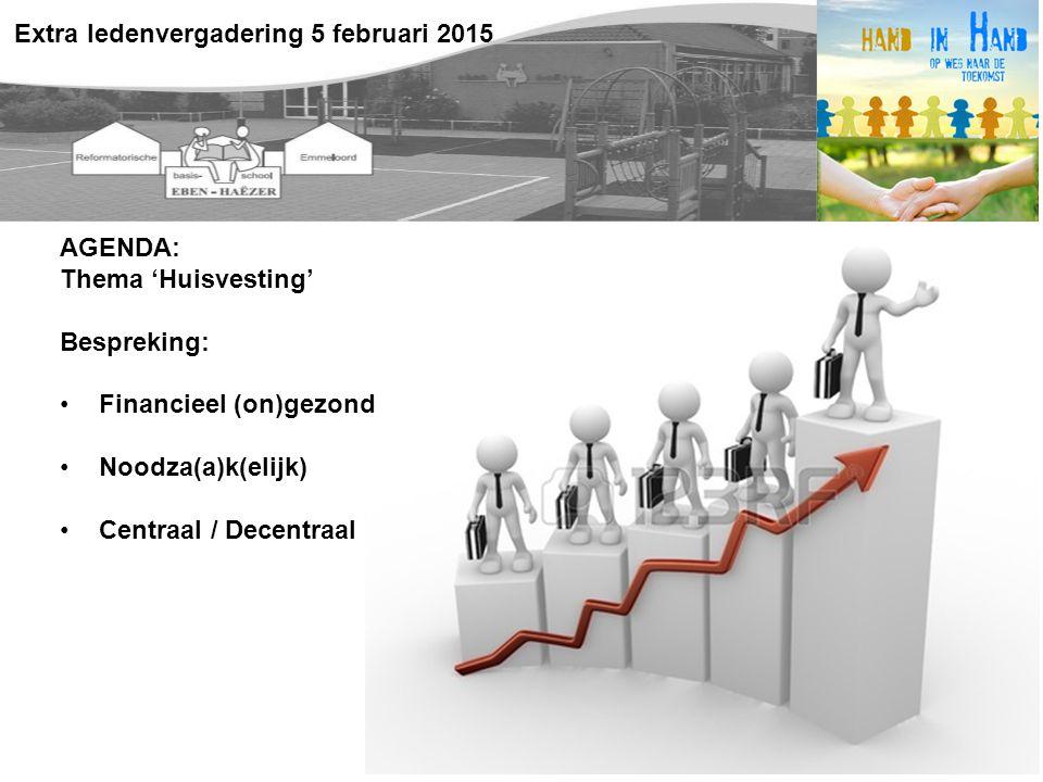 AGENDA: Thema 'Huisvesting' Bespreking: Financieel (on)gezond Noodza(a)k(elijk) Centraal / Decentraal Extra ledenvergadering 5 februari 2015