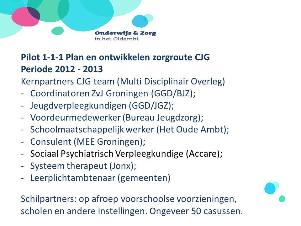 Pilot 1-1-1 Plan en ontwikkelen zorgroute CJG Periode 2012 - 2013 Leer- Werkgroep Voorschoolse voorzieningen, scholen VCO – SOOOG – jeugdverpleegkundigen -Inventarisatie wensen en behoeften; -Uitleg zorgroute; -Toepassen op eigen ingebrachte casussen; -Ambassadeurs implementatie.