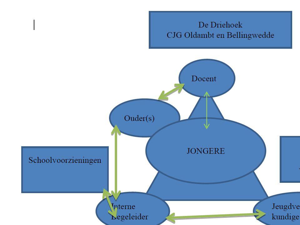 CJG Team – Multi Disciplinair Overleg -Consultatie en advies -Signaal afgeven op de Verwijsindex (VIG) ZvJG; -Inbreng casus voor handelingsadvies – Opstellen Gezinsplan -Verwijzing naar … -Terugkoppeling voortgang … -Volgen.