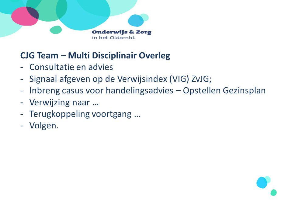 CJG Team – Multi Disciplinair Overleg -Consultatie en advies -Signaal afgeven op de Verwijsindex (VIG) ZvJG; -Inbreng casus voor handelingsadvies – Op