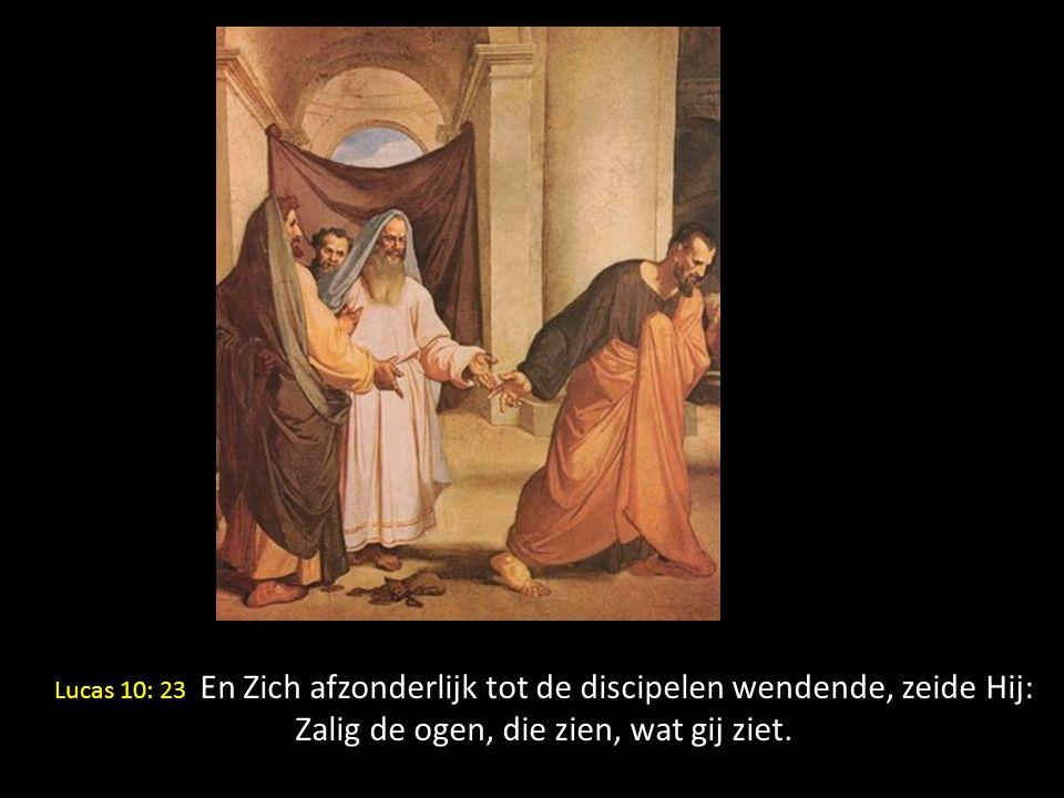 W Lucas 10: 23 En Zich afzonderlijk tot de discipelen wendende, zeide Hij: Zalig de ogen, die zien, wat gij ziet.