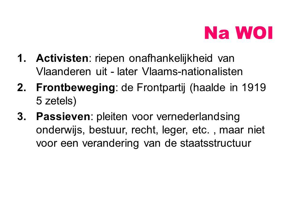 Na WOI 1.Activisten: riepen onafhankelijkheid van Vlaanderen uit - later Vlaams-nationalisten 2.Frontbeweging: de Frontpartij (haalde in 1919 5 zetels