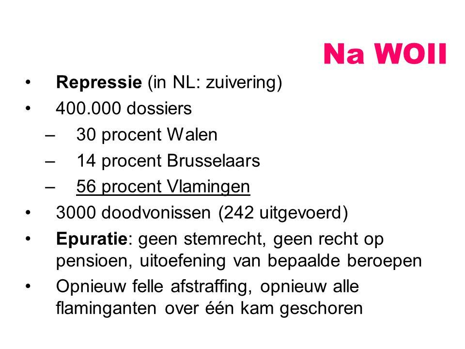 Repressie (in NL: zuivering) 400.000 dossiers –30 procent Walen –14 procent Brusselaars –56 procent Vlamingen 3000 doodvonissen (242 uitgevoerd) Epura