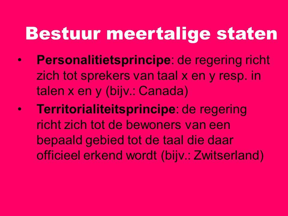 Bestuur meertalige staten Personalitietsprincipe: de regering richt zich tot sprekers van taal x en y resp. in talen x en y (bijv.: Canada) Territoria