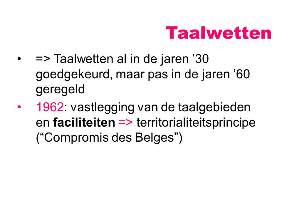 Taalwetten => Taalwetten al in de jaren '30 goedgekeurd, maar pas in de jaren '60 geregeld 1962: vastlegging van de taalgebieden en faciliteiten => te