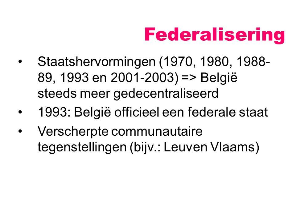 Federalisering Staatshervormingen (1970, 1980, 1988- 89, 1993 en 2001-2003) => België steeds meer gedecentraliseerd 1993: België officieel een federal