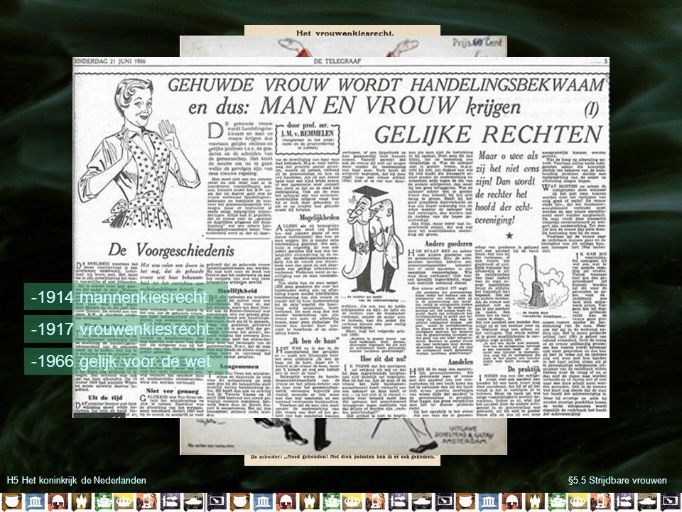 H5 Het koninkrijk de Nederlanden§5.5 Strijdbare vrouwen -1914 mannenkiesrecht -1917 vrouwenkiesrecht -1966 gelijk voor de wet