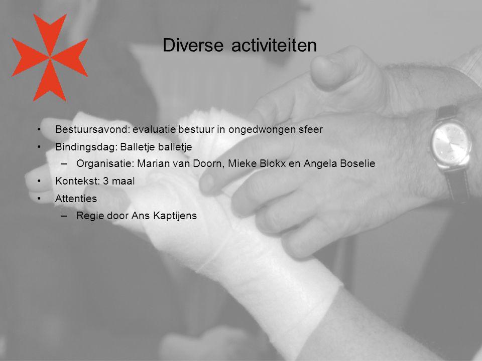 Diverse activiteiten Bestuursavond: evaluatie bestuur in ongedwongen sfeer Bindingsdag: Balletje balletje –Organisatie: Marian van Doorn, Mieke Blokx