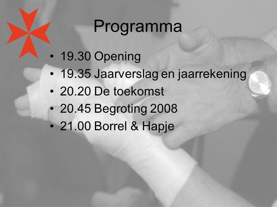 Programma 19.30 Opening 19.35 Jaarverslag en jaarrekening 20.20 De toekomst 20.45 Begroting 2008 21.00 Borrel & Hapje