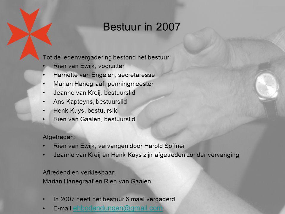 Bestuur in 2007 Tot de ledenvergadering bestond het bestuur: Rien van Ewijk, voorzitter Harriëtte van Engelen, secretaresse Marian Hanegraaf, penningm