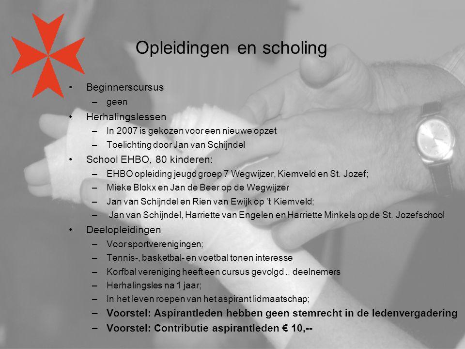Opleidingen en scholing Beginnerscursus –geen Herhalingslessen –In 2007 is gekozen voor een nieuwe opzet –Toelichting door Jan van Schijndel School EH