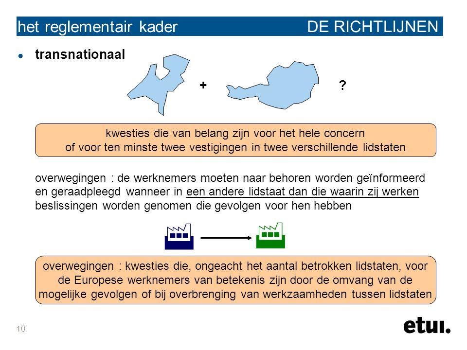10 het reglementair kader DE RICHTLIJNEN ● transnationaal + ? overwegingen : de werknemers moeten naar behoren worden geïnformeerd en geraadpleegd wan