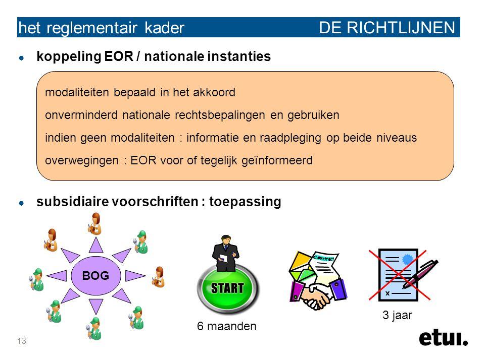 13 het reglementair kader DE RICHTLIJNEN ● koppeling EOR / nationale instanties ● subsidiaire voorschriften : toepassing modaliteiten bepaald in het a