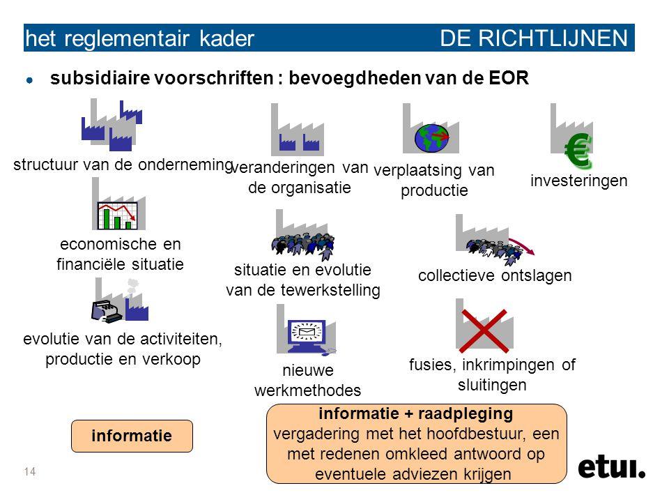 14 het reglementair kader DE RICHTLIJNEN ● subsidiaire voorschriften : bevoegdheden van de EOR structuur van de onderneming situatie en evolutie van d