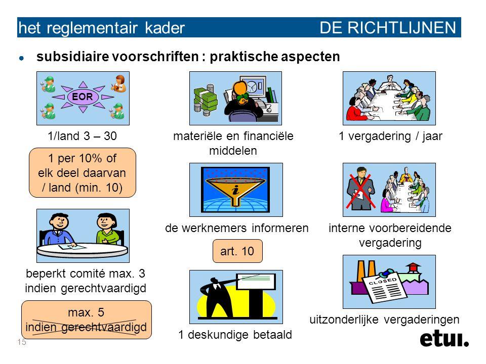 15 het reglementair kader DE RICHTLIJNEN ● subsidiaire voorschriften : praktische aspecten EOR 1/land 3 – 30 1 per 10% of elk deel daarvan / land (min.