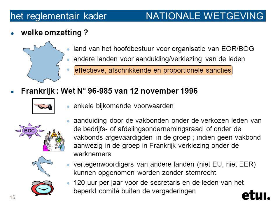 16 ● welke omzetting ? ● land van het hoofdbestuur voor organisatie van EOR/BOG ● andere landen voor aanduiding/verkiezing van de leden ● Frankrijk :