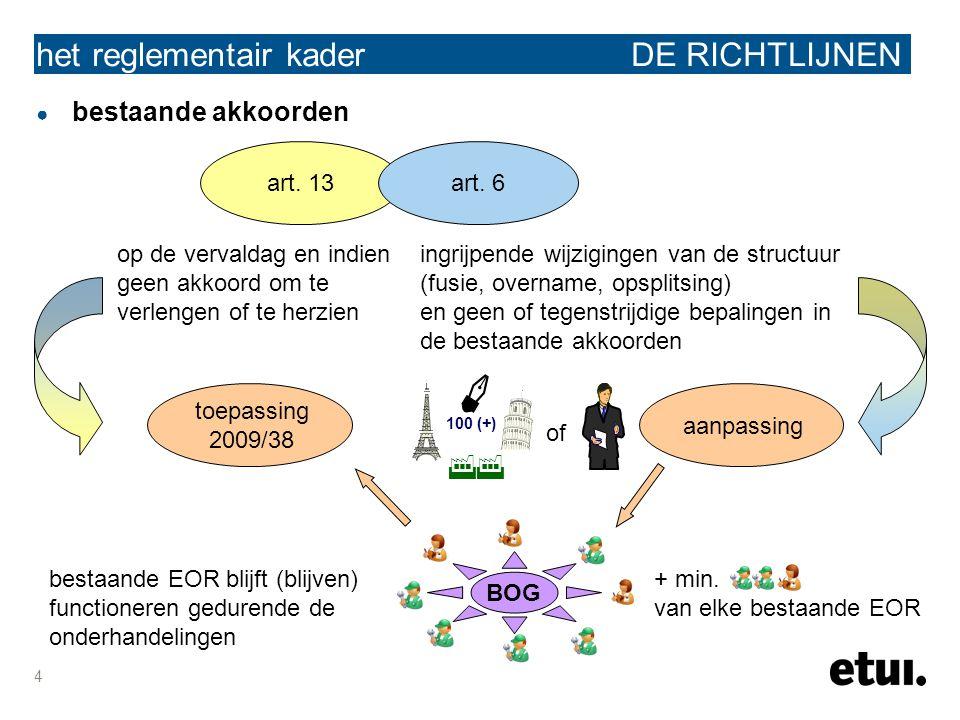 4 het reglementair kader DE RICHTLIJNEN ● bestaande akkoorden art. 13art. 6 op de vervaldag en indien geen akkoord om te verlengen of te herzien ingri
