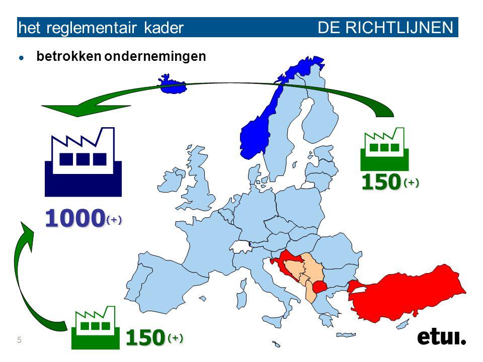 5 het reglementair kader DE RICHTLIJNEN ● betrokken ondernemingen 150 (+)   1000 (+) 