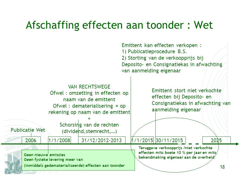 18 VAN RECHTSWEGE Ofwel : omzetting in effecten op naam van de emittent Ofwel : dematerialisering = op rekening op naam van de emittent + Schorsing van de rechten (dividend,stemrecht,…) Afschaffing effecten aan toonder : Wet 20061/1/200831/12/2012-2013 Publicatie Wet Geen nieuwe emissies Geen fysieke levering meer van (inmiddels gedematerialiseerde) effecten aan toonder 1/1/2015202530/11/2015 Emittent kan effecten verkopen : 1) Publicatieprocedure B.S.