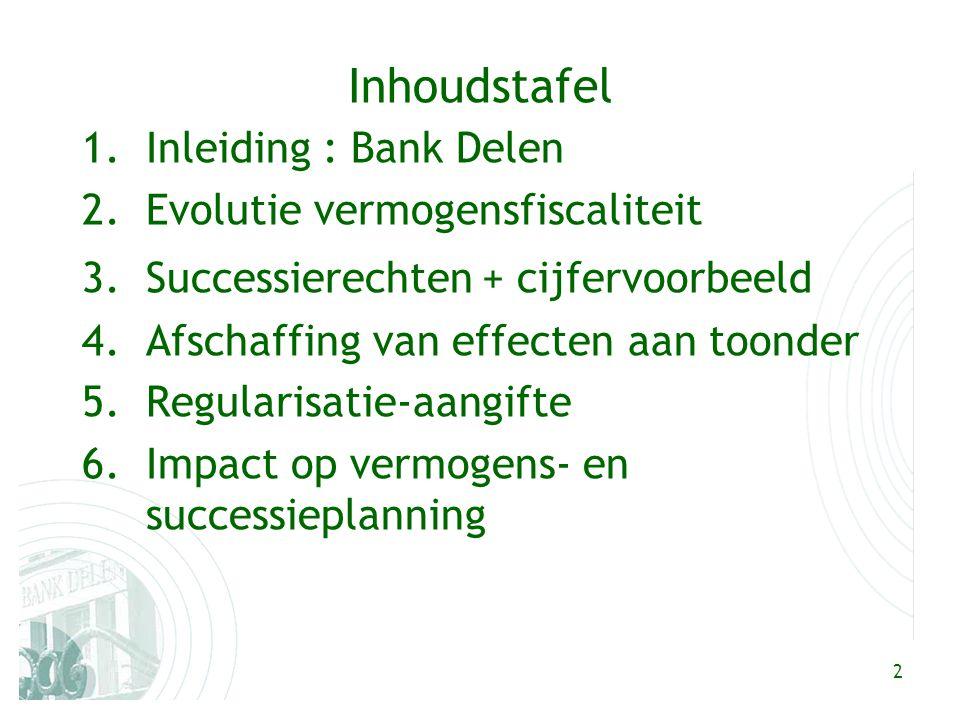 2 Inhoudstafel 1.Inleiding : Bank Delen 2.Evolutie vermogensfiscaliteit 3.Successierechten+ cijfervoorbeeld 4.Afschaffing van effecten aan toonder 5.Regularisatie-aangifte 6.Impact op vermogens- en successieplanning
