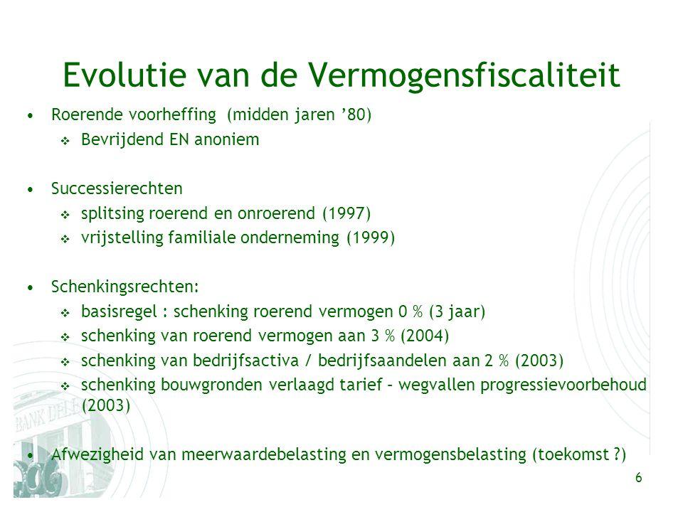 6 Evolutie van de Vermogensfiscaliteit Roerende voorheffing (midden jaren '80)  Bevrijdend EN anoniem Successierechten  splitsing roerend en onroere