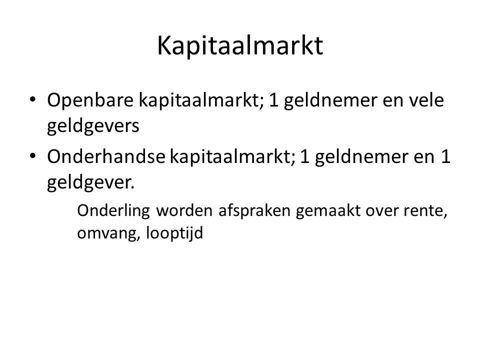 Kapitaalmarkt Openbare kapitaalmarkt; 1 geldnemer en vele geldgevers Onderhandse kapitaalmarkt; 1 geldnemer en 1 geldgever. Onderling worden afspraken