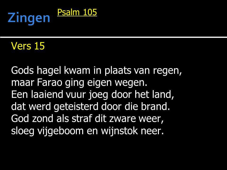 Psalm 105 Vers 15 Gods hagel kwam in plaats van regen, maar Farao ging eigen wegen. Een laaiend vuur joeg door het land, dat werd geteisterd door die