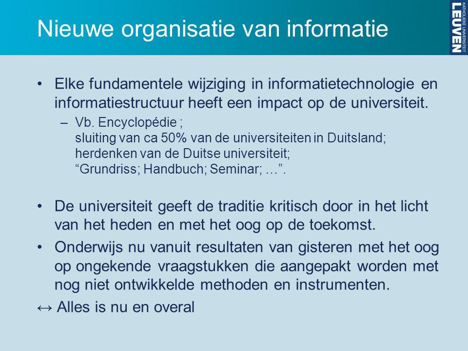 Nieuwe organisatie van informatie Elke fundamentele wijziging in informatietechnologie en informatiestructuur heeft een impact op de universiteit.