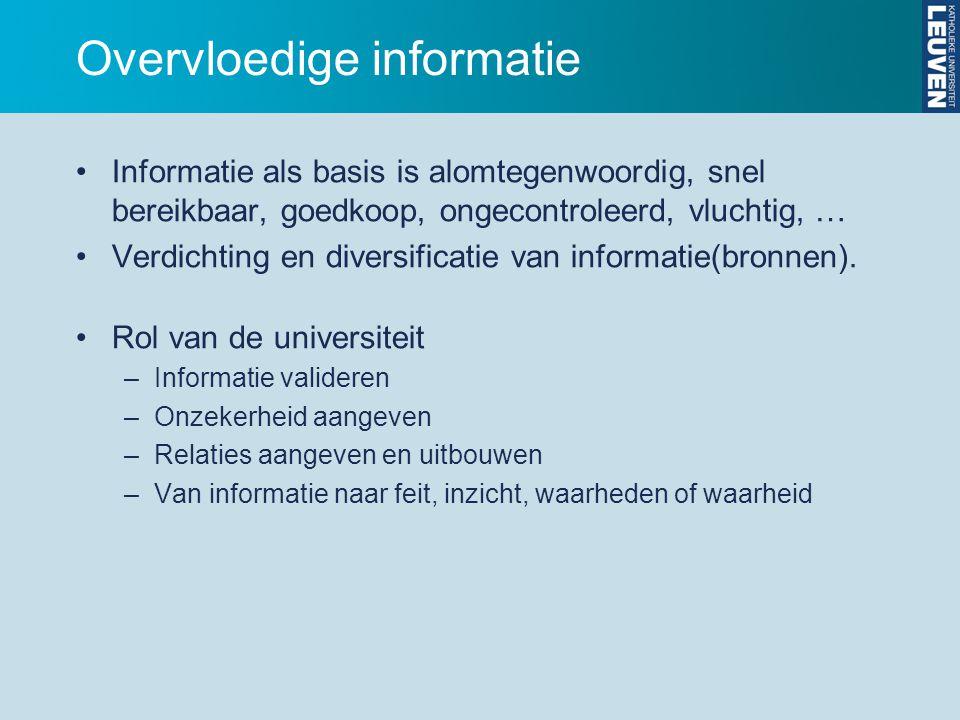 Overvloedige informatie Informatie als basis is alomtegenwoordig, snel bereikbaar, goedkoop, ongecontroleerd, vluchtig, … Verdichting en diversificatie van informatie(bronnen).