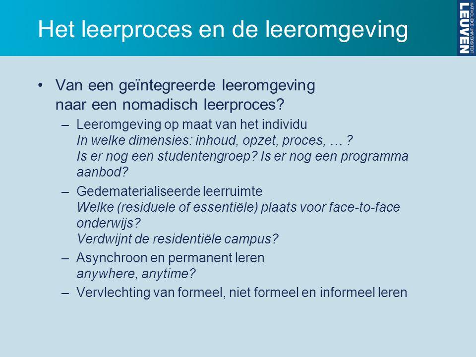 Het leerproces en de leeromgeving Van een geïntegreerde leeromgeving naar een nomadisch leerproces.