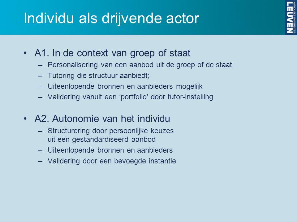 Individu als drijvende actor A1.