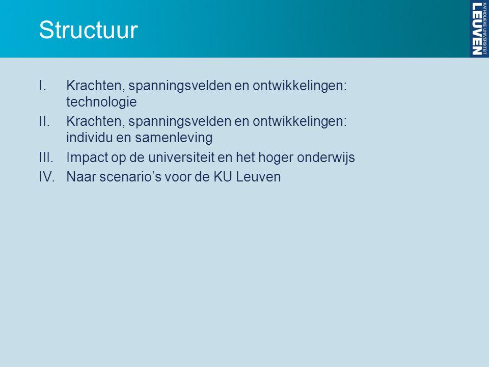 Structuur I.Krachten, spanningsvelden en ontwikkelingen: technologie II.Krachten, spanningsvelden en ontwikkelingen: individu en samenleving III.Impact op de universiteit en het hoger onderwijs IV.Naar scenario's voor de KU Leuven