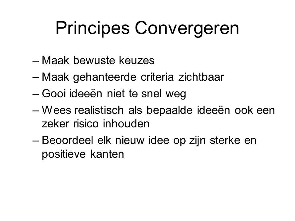 Principes Convergeren –Maak bewuste keuzes –Maak gehanteerde criteria zichtbaar –Gooi ideeën niet te snel weg –Wees realistisch als bepaalde ideeën oo