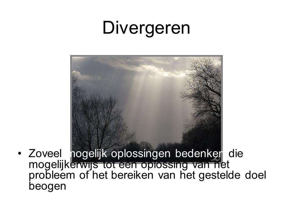 Doel divergeren –Divergeren heeft tot doel om vertrekkend vanuit één invalspunt een groot aantal elementen (feiten, problemen, symptonen, gevolgen, oorzaken, ideeen, oplossingen…etc) te genereren.