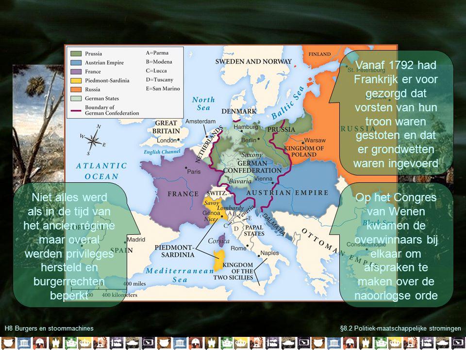 H8 Burgers en stoommachines§8.2 Politiek-maatschappelijke stromingen Vanaf 1792 had Frankrijk er voor gezorgd dat vorsten van hun troon waren gestoten en dat er grondwetten waren ingevoerd Op het Congres van Wenen kwamen de overwinnaars bij elkaar om afspraken te maken over de naoorlogse orde Niet alles werd als in de tijd van het ancien régime maar overal werden privileges hersteld en burgerrechten beperkt