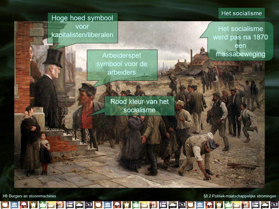H8 Burgers en stoommachines§8.2 Politiek-maatschappelijke stromingen Het socialisme Arbeiderspet symbool voor de arbeiders Hoge hoed symbool voor kapitalisten/liberalen Rood kleur van het socialisme Het socialisme werd pas na 1870 een massabeweging