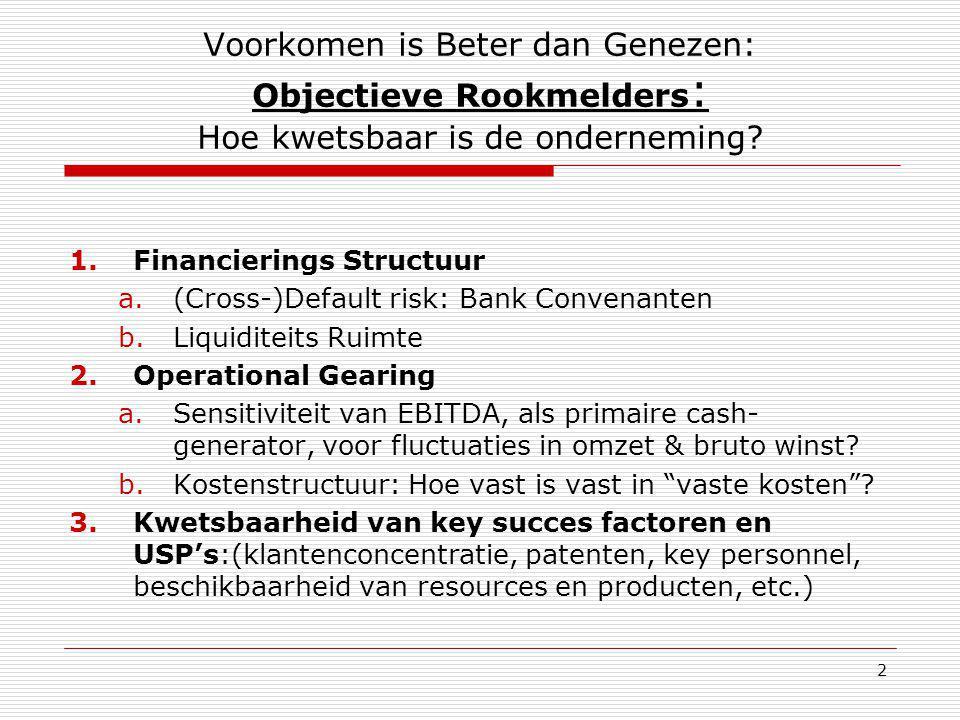 2 Voorkomen is Beter dan Genezen: Objectieve Rookmelders : Hoe kwetsbaar is de onderneming? 1.Financierings Structuur a.(Cross-)Default risk: Bank Con