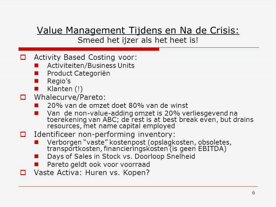 6 Value Management Tijdens en Na de Crisis: Smeed het ijzer als het heet is!  Activity Based Costing voor: Activiteiten/Business Units Product Catego