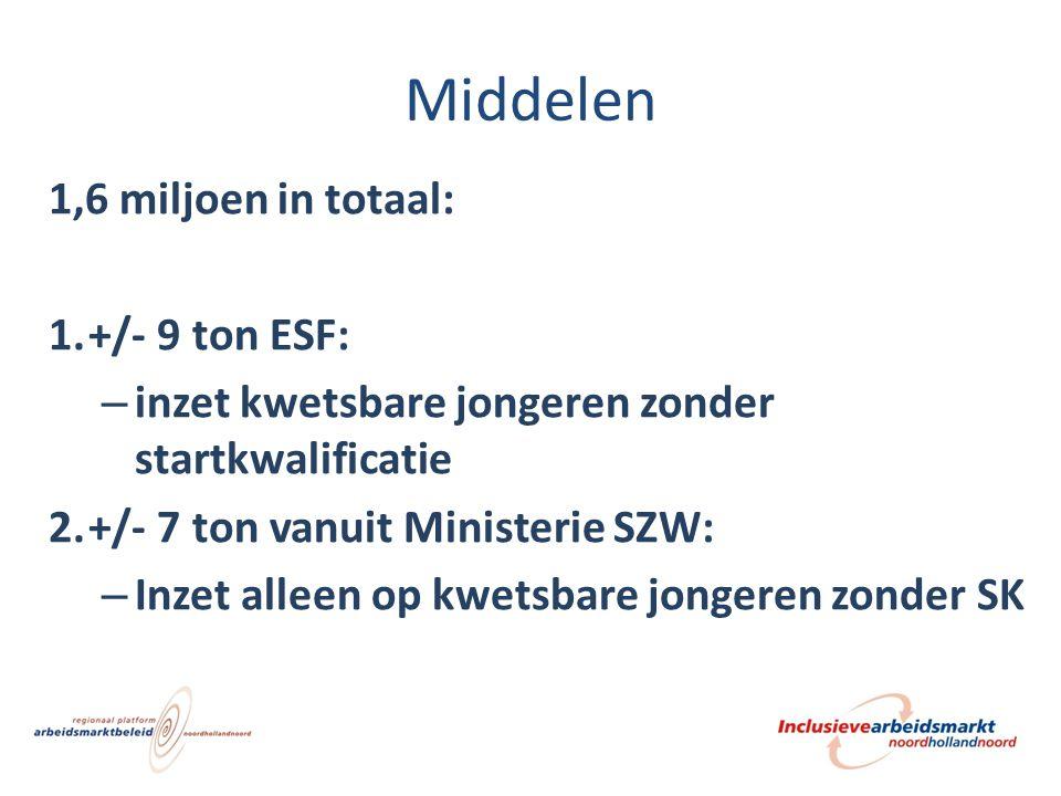 Middelen 1,6 miljoen in totaal: 1.+/- 9 ton ESF: – inzet kwetsbare jongeren zonder startkwalificatie 2.+/- 7 ton vanuit Ministerie SZW: – Inzet alleen