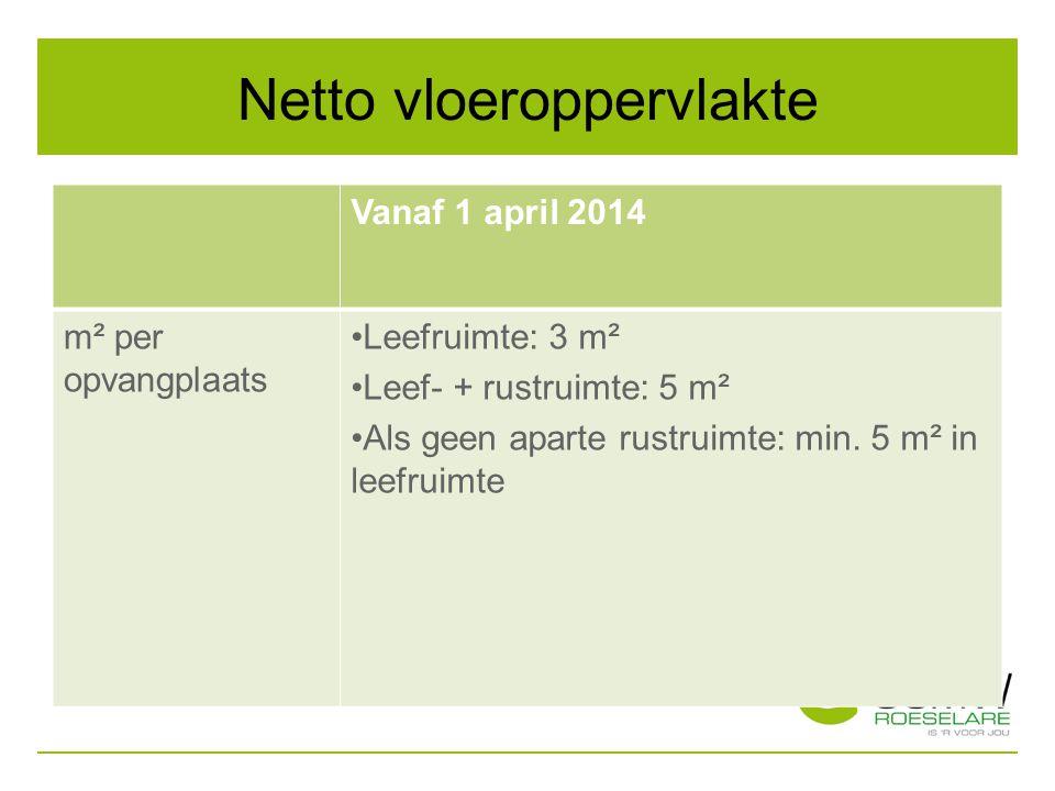Netto vloeroppervlakte Vanaf 1 april 2014 m² per opvangplaats Leefruimte: 3 m² Leef- + rustruimte: 5 m² Als geen aparte rustruimte: min. 5 m² in leefr