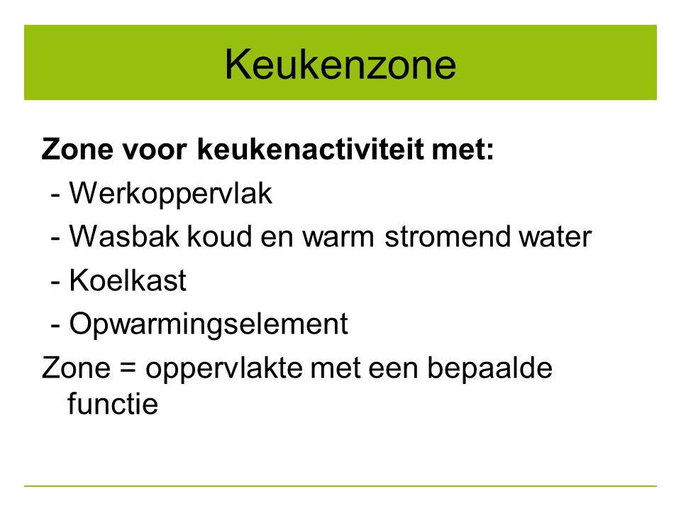 Keukenzone Zone voor keukenactiviteit met: - Werkoppervlak - Wasbak koud en warm stromend water - Koelkast - Opwarmingselement Zone = oppervlakte met