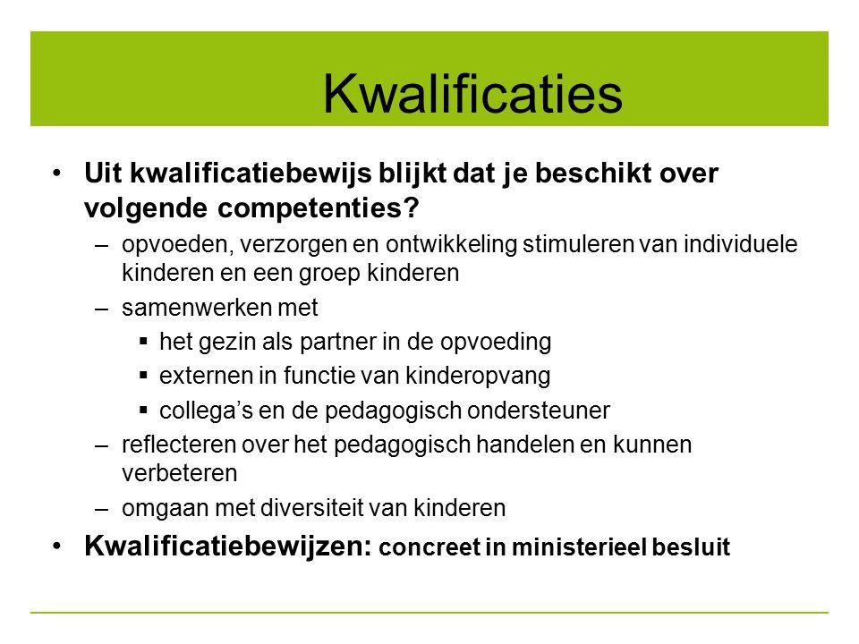 Kwalificaties Uit kwalificatiebewijs blijkt dat je beschikt over volgende competenties? –opvoeden, verzorgen en ontwikkeling stimuleren van individuel