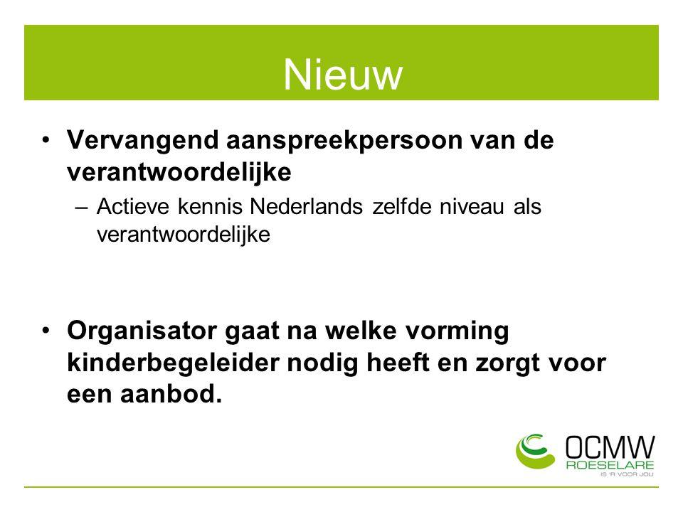 Nieuw Vervangend aanspreekpersoon van de verantwoordelijke –Actieve kennis Nederlands zelfde niveau als verantwoordelijke Organisator gaat na welke vo