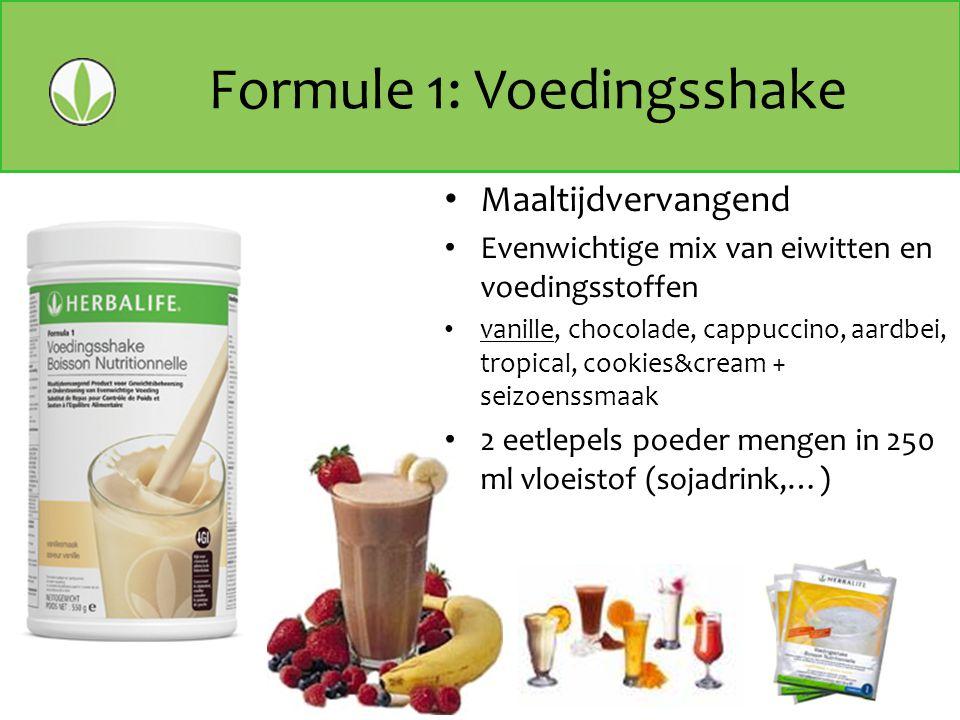 Formule 1: Voedingsshake Maaltijdvervangend Evenwichtige mix van eiwitten en voedingsstoffen vanille, chocolade, cappuccino, aardbei, tropical, cookie