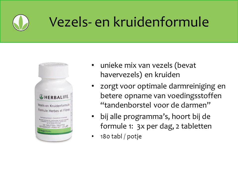 Vezels- en kruidenformule unieke mix van vezels (bevat havervezels) en kruiden zorgt voor optimale darmreiniging en betere opname van voedingsstoffen