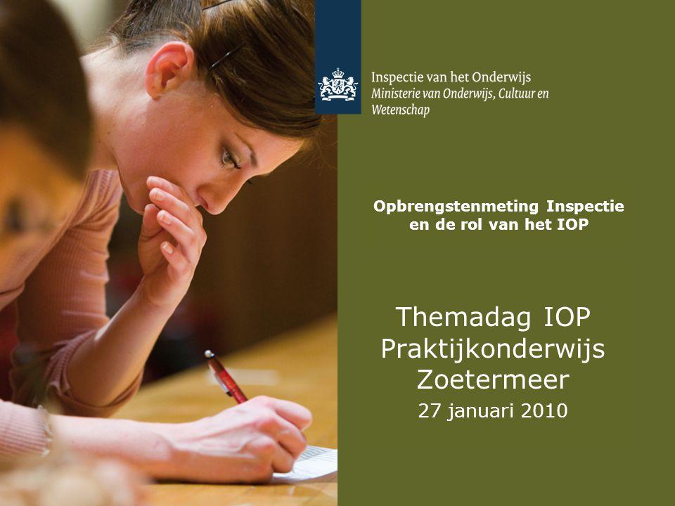 Opbrengstenmeting Inspectie en de rol van het IOP Themadag IOP Praktijkonderwijs Zoetermeer 27 januari 2010
